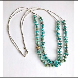 Multi Strand Liquid Silver Turquoise Necklace